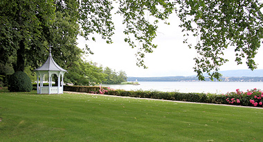 View across Lake Geneva from garden of Mme Zanon