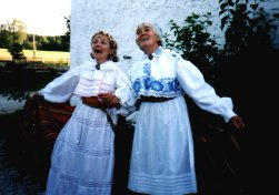 Kulvi Kaus and sister-in-law in Estonian national dress