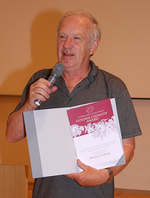 Werner Stastny receiving his Golden Clematis Award at the C.G.M. in Nagoya, Japan in June 2008