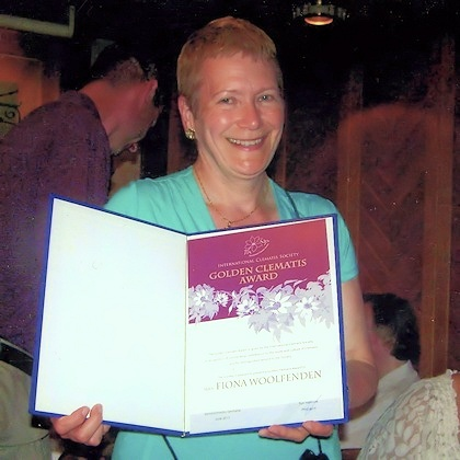 Fiona Woolfenden receiving her Golden Clematis Award at the Gala Dinner in Erlabrunn, Germany, 2013