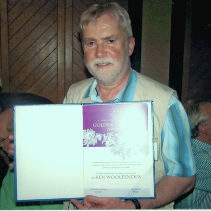 Ken Woolfenden receiving his Golden Clematis Award at the Gala Dinner in Erlabrunn, Germany, 2013