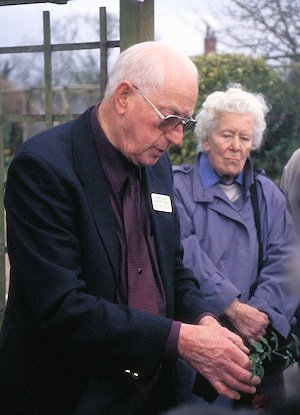 Geoff Tolver demonstrating taking cuttings at Thorncroft Clematis, 2001