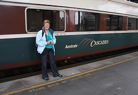 Fiona about to board the Amtrak Cascades train©K.Woolfenden