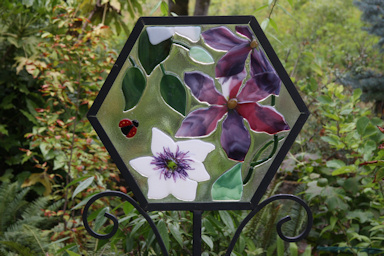 Clematis stained glass artwork by Pat Eckhardt©K.Woolfenden