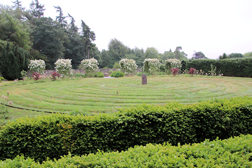 Grass maze and roses behind©Ken Woolfenden