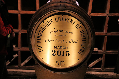 Kingsbarns first filled cask of whisky in the Doocot©Ken Woolfenden