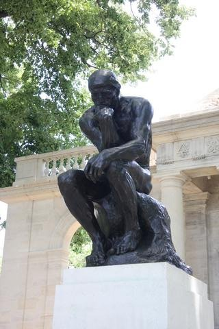 Rodin's The Thinker at the entrance to the museum garden