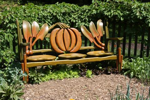 Beautiful horticultural-themed bench